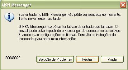 MSN: Erro 80048820