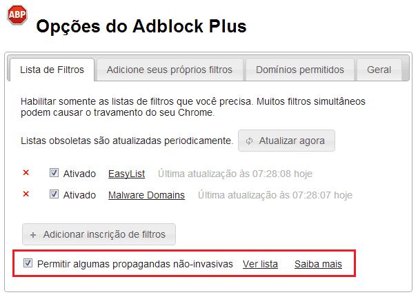 Opções - Adblock Plus