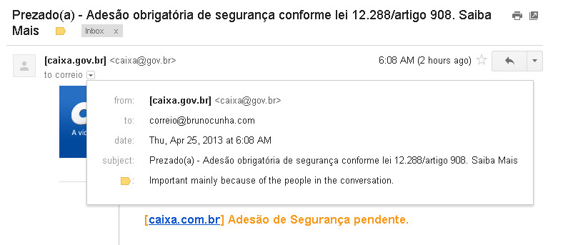 E-mail Falso CEF - Remetente