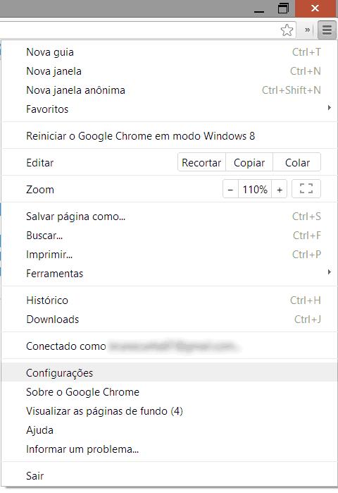Como acessar as configurações no Google Chrome