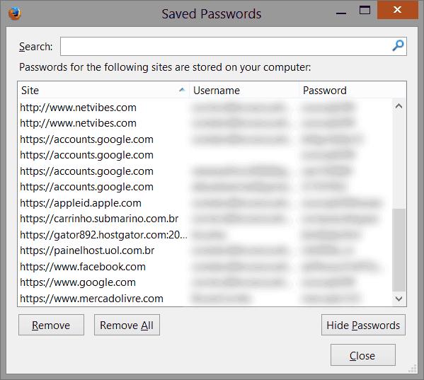 Senhas salvas no Mozilla Firefox