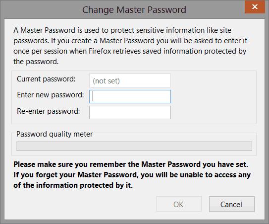 Cadastrar senha mestre no Mozilla Firefox