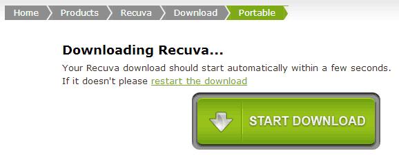 Recuva - Página de Download