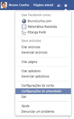 Facebook - Acessar área de configuração de privacidade