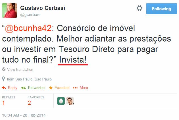 Twitter - Resposta Gustavo Cerbasi