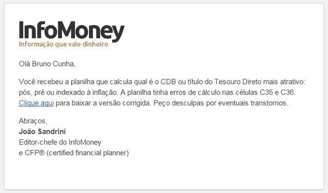 E-mail do InfoMoney reconhecendo o erro na planilha