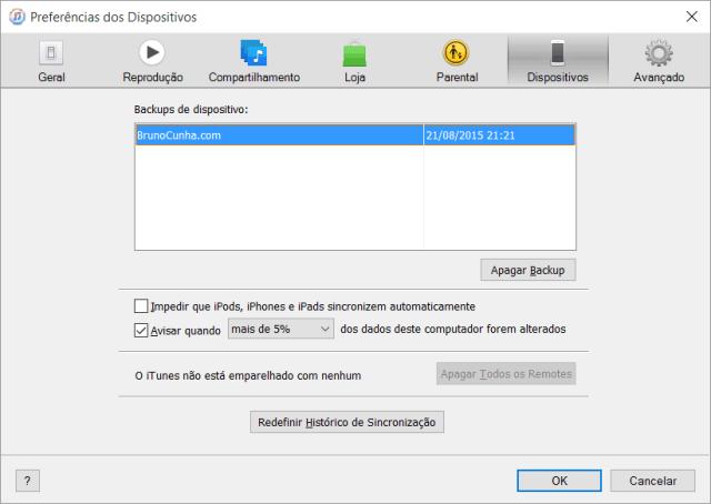 iTunes - Preferências dos Dispositivos - Backups