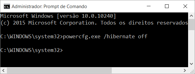 Desabilitar Hibernar do Windows via Prompt de Comando